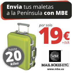 Envia tu maleta a la península por 19 euros